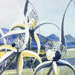 'caladenia longicauda White Spider Orchid detail of larger work - water colour